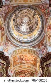 Melk, Austria - May 24, 2010: Ceiling Fresco (1722) in the Church of Stift Melk in Lower Austria, depicting the Via Triumphalis of St Benedict in Heaven