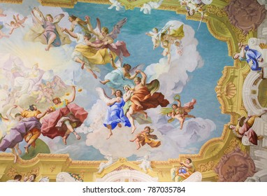 Melk, Austria - May 24, 2010: Fresco (1731) in the Libary of Stift Melk in Lower Austria, depicting the Cardinal Virtues Prudence, Justice, Fortitude, and Temperance.