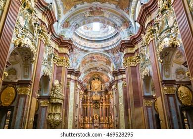 MELK, AUSTRIA - MAY 29, 2016: Church of Melk Abbey in Wachau Valley, Lower Austria