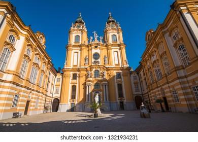 Melk, Austria, October 2018 - Beutiful view of Stift Melk (Melk Abbey)