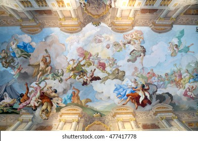 Melk, Austria - October 3, 2015: The ceiling painting of Melk Abbey, part of UNESCO World Heritage site of Wachau Valley along Danube river on October 3, 2015.