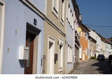 MELK, AUSTRIA - SEP 14, 2016 - Pastel house front on narrow street in  Melk, Austria