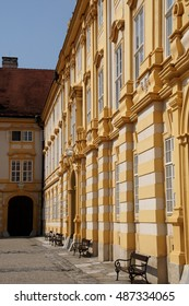 MELK, AUSTRIA - SEP 7, 2016 - Baroque courtyard of Benedictine abbey at  Melk, Austria