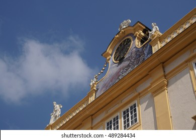MELK, AUSTRIA - SEP 7, 2016 - Baroque rooftop ornamentation of Benedictine abbey,  Melk, Austria