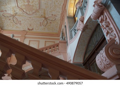 MELK, AUSTRIA - SEP 7, 2016 - Interior staircase and baroque ceiling decoration of Stift Melk Abbey, Austria