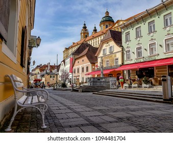 Melk / Austria-April 10, 2018 : The small town named Melk is a city of Austria, in the federal state of Lower Austria, next to the Wachau valley along the Danube.