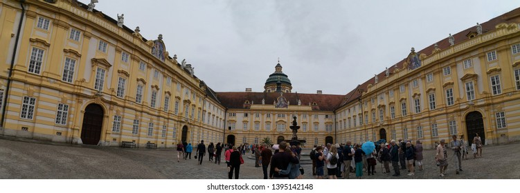 Melk, Lower Austria/Austria; 06/10/2018: a panoramic view of Melk Abbey (Stift Melk) a Benedictine abbey above the town of Melk, Lower Austria, Austria, on a rocky outcrop overlooking the Danube river