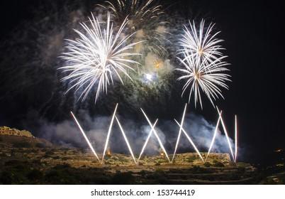 Mellieha Church, fireworks