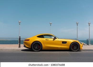 Mellieha, MALTA - APR 30, 2018: Mercedes Benz AMG GTs on the promenade