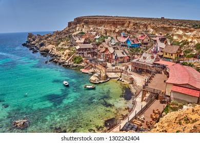 Mellieha Malta, May 2016: Exterior view from the Popeye village in Malta. Its also known as Sweethaven Village, is a film set purposely built village, now converted into a small tourist attraction