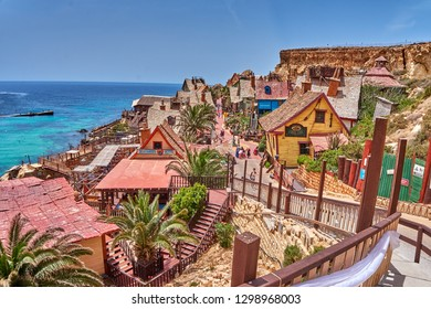 Mellieha, Malta - May 2016: Scenic view from the Popeye village. Also known as Sweethaven Village, is a film set purposely built village, now converted into a small attraction fun park for tourists