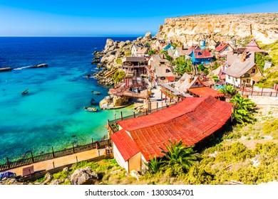 Mellieha, Malta - November 10, 2015 : Popeye Village view in Mellieha of Malta