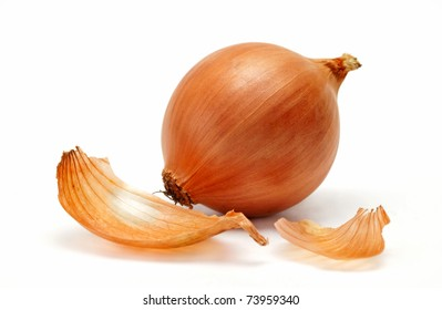 Mellow onions on a white background