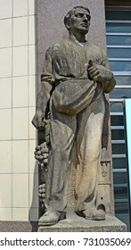 MELNIK, CZECH REPUBLIC - MAY 26, 2014: A sculpture of the sower at the building