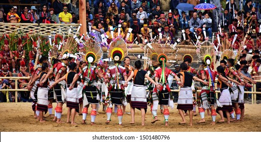 """""""Melo Phita dance of Angami tribe, displayed on the occasion of 19th Hornbill festival, held at Kisama Heritage village, near Kohima town, Nagaland, Northeast India - 3rd December 2018"""""""