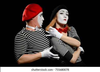 Melodrama sketch of two mimes. Enamored man trying to hug his crush, woman giving arrogant look and pushing her hair over shoulder. Love refusal concept.
