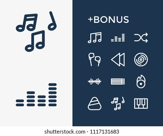 Melody icon set and backward with clef, melody and note line. Music related melody icon  for web UI logo design.