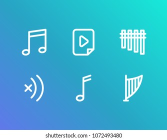 Melody icon set and mute with lyre, chimes and music file. Harp related melody icon  for web UI logo design.