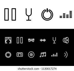 Melody icon set and pause with tuning fork, musical notes and wave. Loud related melody icon  for web UI logo design.