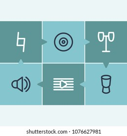 Melody icon set and webcam with drums, audio and djembe. Videoconference related melody icon  for web UI logo design.