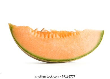 melon cantaloupe slice isolated on white background