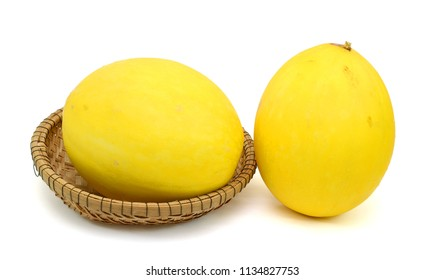 Melon fruit (Cucumis melo) isolated on white background