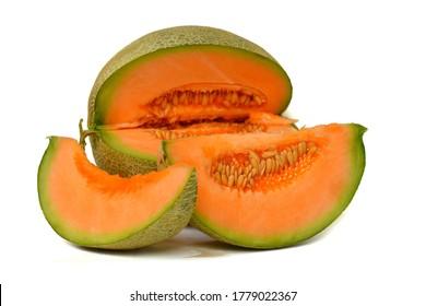 Melon, fruit slices, orange flesh on a white background, Japanese melon
