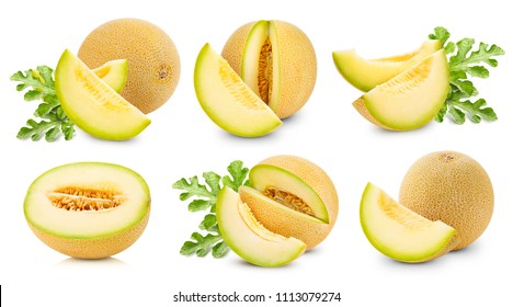 melon fruits collection and half Isolated on white background