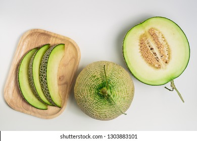 Melon on white background, Summer fresh fruit concept