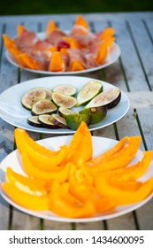 Melon with parma ham and a plate of fresh figs