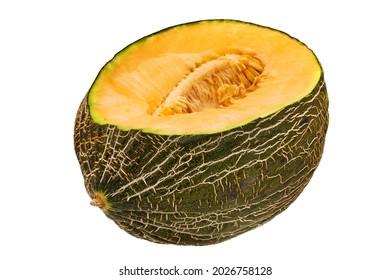 Melon Piel De Sapo, close up of juicy fruit on white background