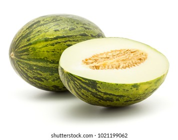 Melon Piel de Sapo (Santa Claus Christmas variety) isolated on white background green striped outer rind one whole and section half with seeds