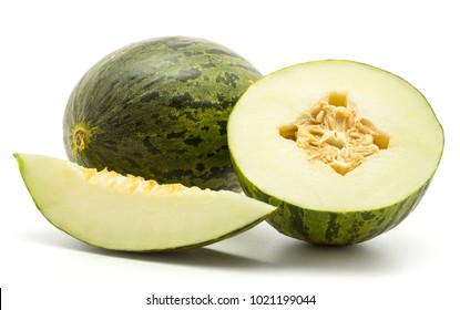 Melon Piel de Sapo set (Santa Claus Christmas variety) isolated on white background green striped outer rind one whole section half one slice