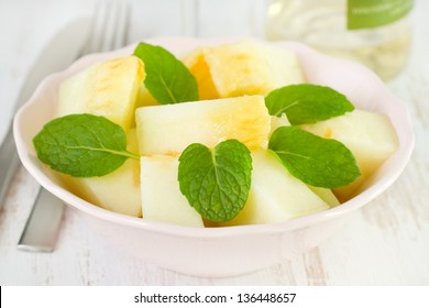 melon salad with mint on the plate