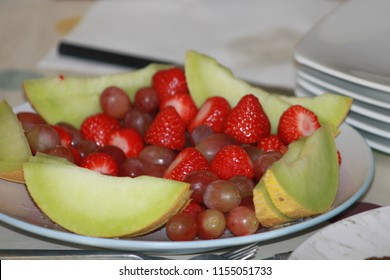 melon strawberry grapes