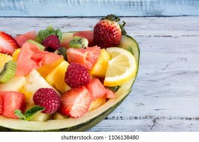 Melon stuffed with fresh mixed fruit