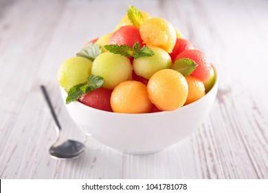 melon and watermelon ball salad