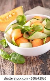 melon and zucchini salad