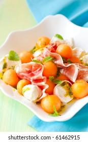 melon,mozzarella,ham salad with mint vinaigrette