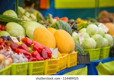 Melons, watermelons, peppers, cabbages on city market