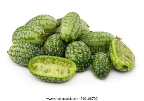 Melothria scabra aka cucamelon or mousemelon, mexican fruit isolated over white background
