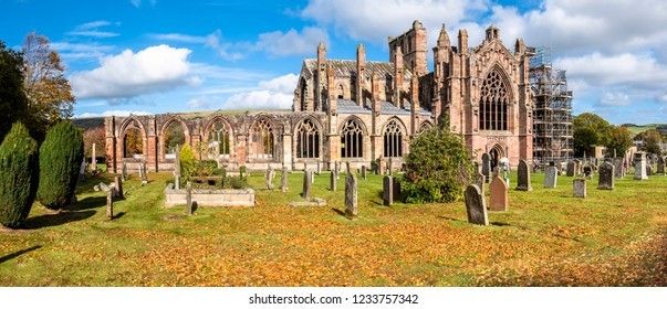 Melrose Abbey ruins in autumn - Scottish Borders - United Kingdom
