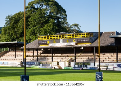 MELROSE, SCOTLAND - JUNE 17:  The view through the posts and across the pitch of Melrose Rugby Union Club in Melrose, Scotland on June 17, 2017.  The club prides itself as the home of rugby sevens.