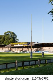 MELROSE, SCOTLAND - JUNE 17:  The view beyond the posts and across the pitch of Melrose Rugby Union Club in Melrose, Scotland on June 17, 2017.  The club prides itself as the home of rugby sevens.