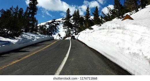 Melt road between high snowbanks on spring. Location: Sonora Pass (Highway 108), Sierra Nevada, California, USA