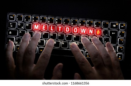 Meltdown Virus keyboard is operated by Hacker.