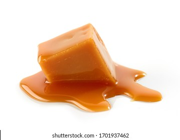melted caramel candy isolated on white background