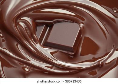 Melted chocolate background / melting chocolate/ chocolate background