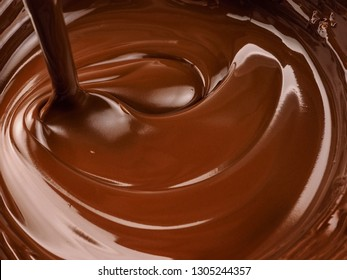 Melted chocolate, close up