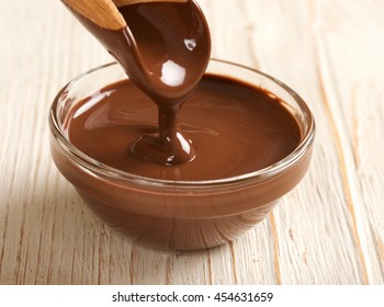 melted chocolate on wooden background